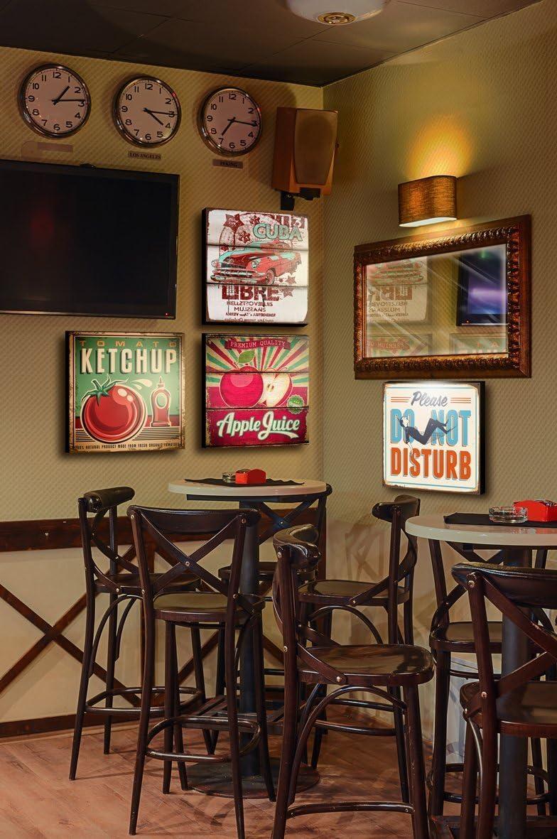bi/ère caf/é bar magasin restaurant Yuna Tableau style vintage//r/étro pour cuisine bar disponible en diff/érents motifs et dimensions Caffe 5 atelier 30 X 30 ameublement pour maison chef