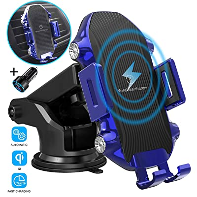 Wireless Car Charger,TECHRAME 10W Qi Fast Charging Auto Clamping Mount,Dashboard Air Vent Phone Car Holder Compatible iPhone 11/11 Pro Max/Xs MAX/XS/XR/X/8/8+,Samsung S10/S10+/S9/S9+/S8/S8+ (Blue): Home Audio & Theater [5Bkhe0408337]