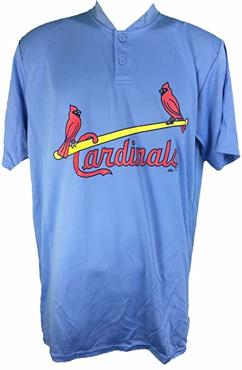 Majestic St. Louis Cardinals Cooperstown Collection Two Button Dri Fit  Jersey T-Shirt ( 176314dc1