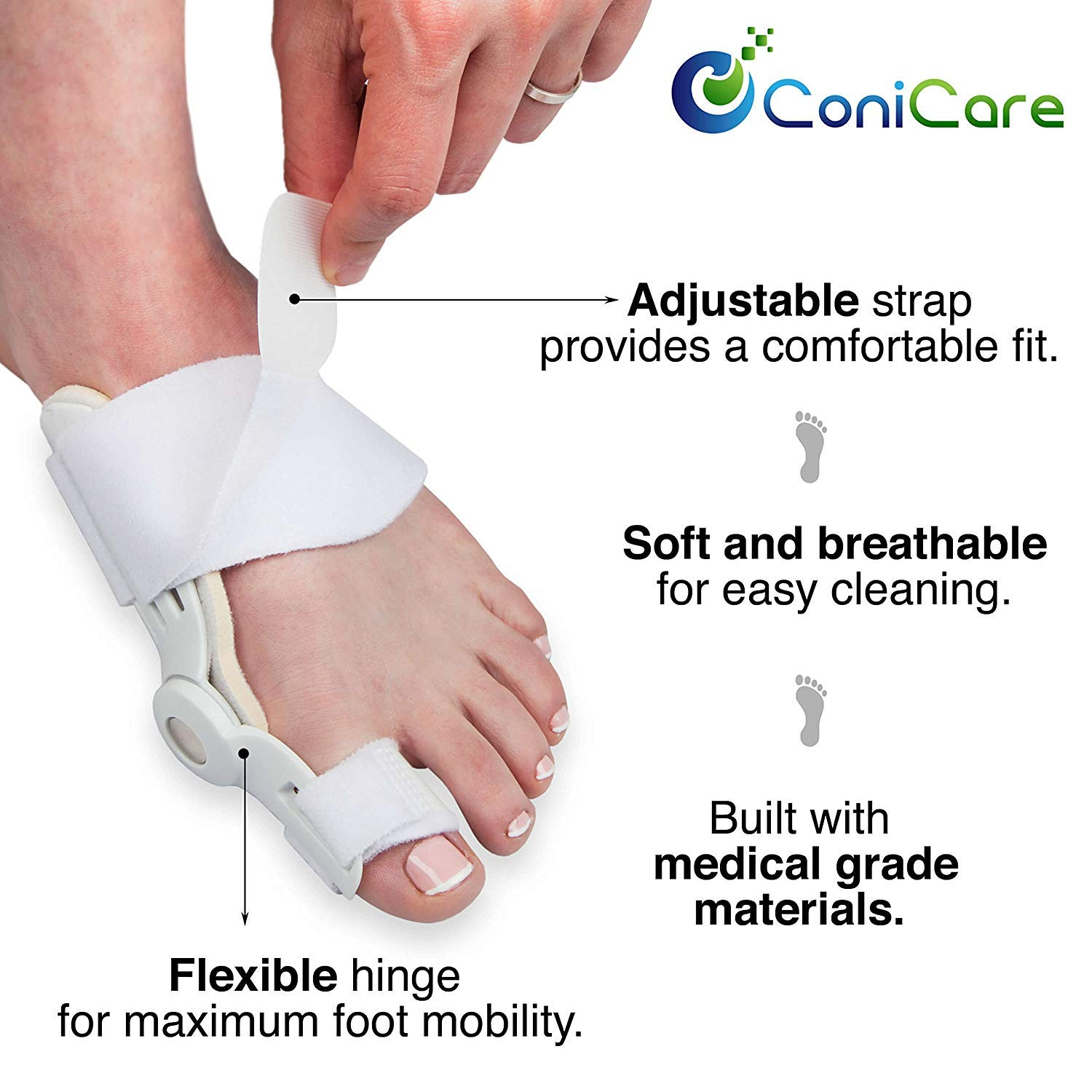 Orthopedic Bunion Corrector Relief And Protector Splint Sleeve 8 Piece Kit - Hallux Valgus Pain Relief, Big Toe Joint, Hammer Toe, Toe Separator Spacer And Big Toe Straightener