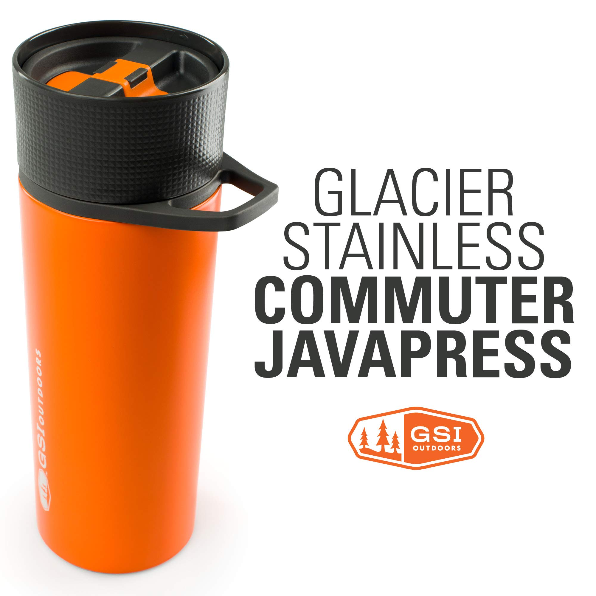 GSI Outdoors - Glacier Stainless Commuter JavaPress, French Press Coffee Mug, Superior Backcountry Cookware Since 1985, Orange by GSI Outdoors