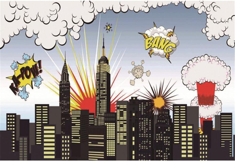 Cartoon Superhelden Kulissen Fotografie Stadtgebäude Kamera