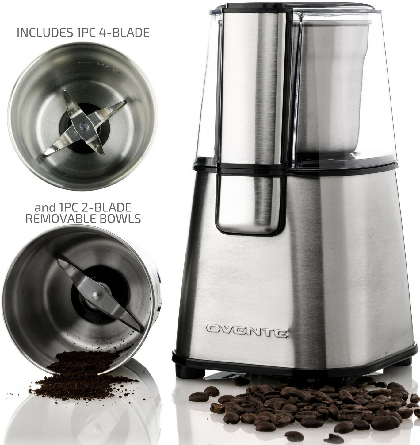 OVENTE Multi-Purpose Electric Coffee Grinder & Spice Grinder with 2 Stainless Steel Blades Removable Bowl (CG620S + ACPCG6000), Set, Silver by OVENTE