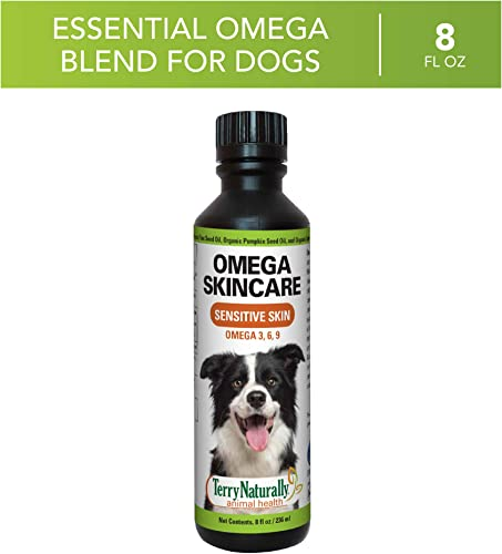 Terry Naturally Animal Health Omega Skincare – 8 fl. oz. – Omega 3 6 9, Flax Seed, Sunflower Pumpkin Seed Oil – Promote Healthy Skin for Your Dog – Canine Only – 47 Servings
