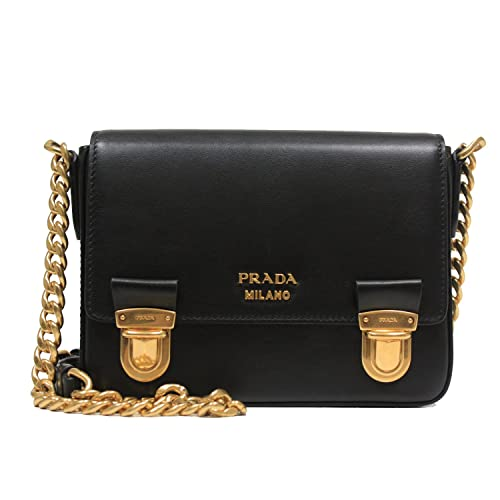 276721f74c77 Prada Small Black Leather Small Chain Shoulder Bag with Gold Hardware  1BH053: Amazon.ca: Shoes & Handbags