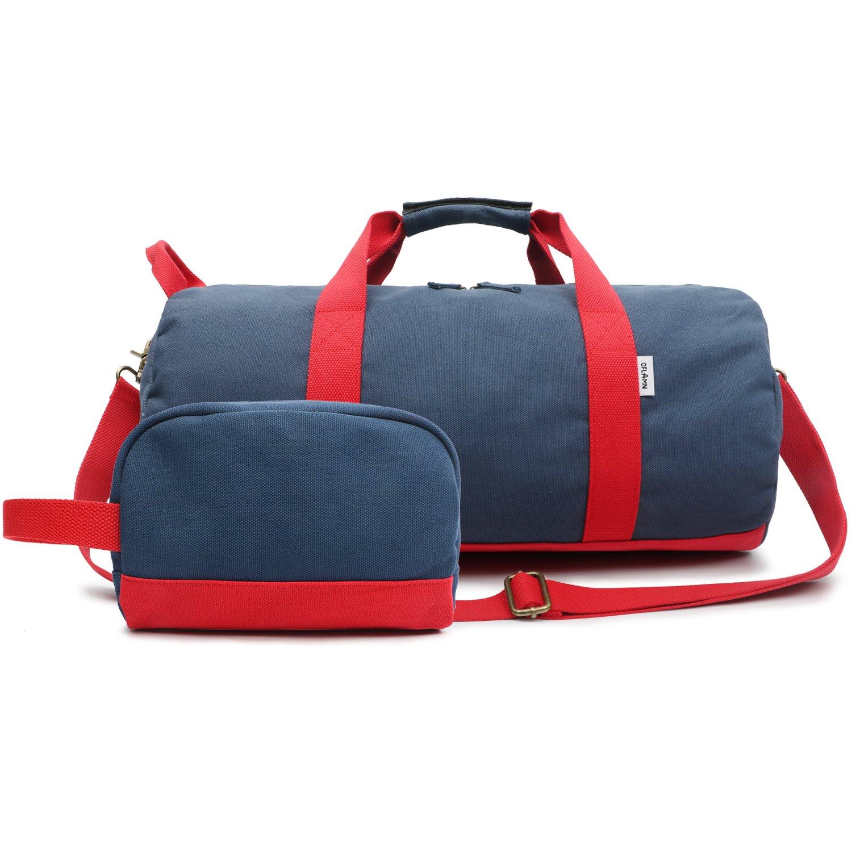 Oflamn Toile Sac de Voyage pour Femmes et Hommes - Sac de Sport avec Compartiment à Chaussures - Travel Duffel Bag & Sports Gym Bag (blue)