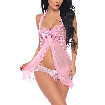Sykooria Encaje Lencería Conjunto Mujer Ropa de Dormir Camisón Suave Frente Abierto Camisón Mini Vestido con Cuello Halter: Ropa y accesorios