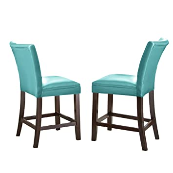 Superieur Steve Silver Company MT480CCA Matinee Bonded Leather Counter Chairs, Aqua