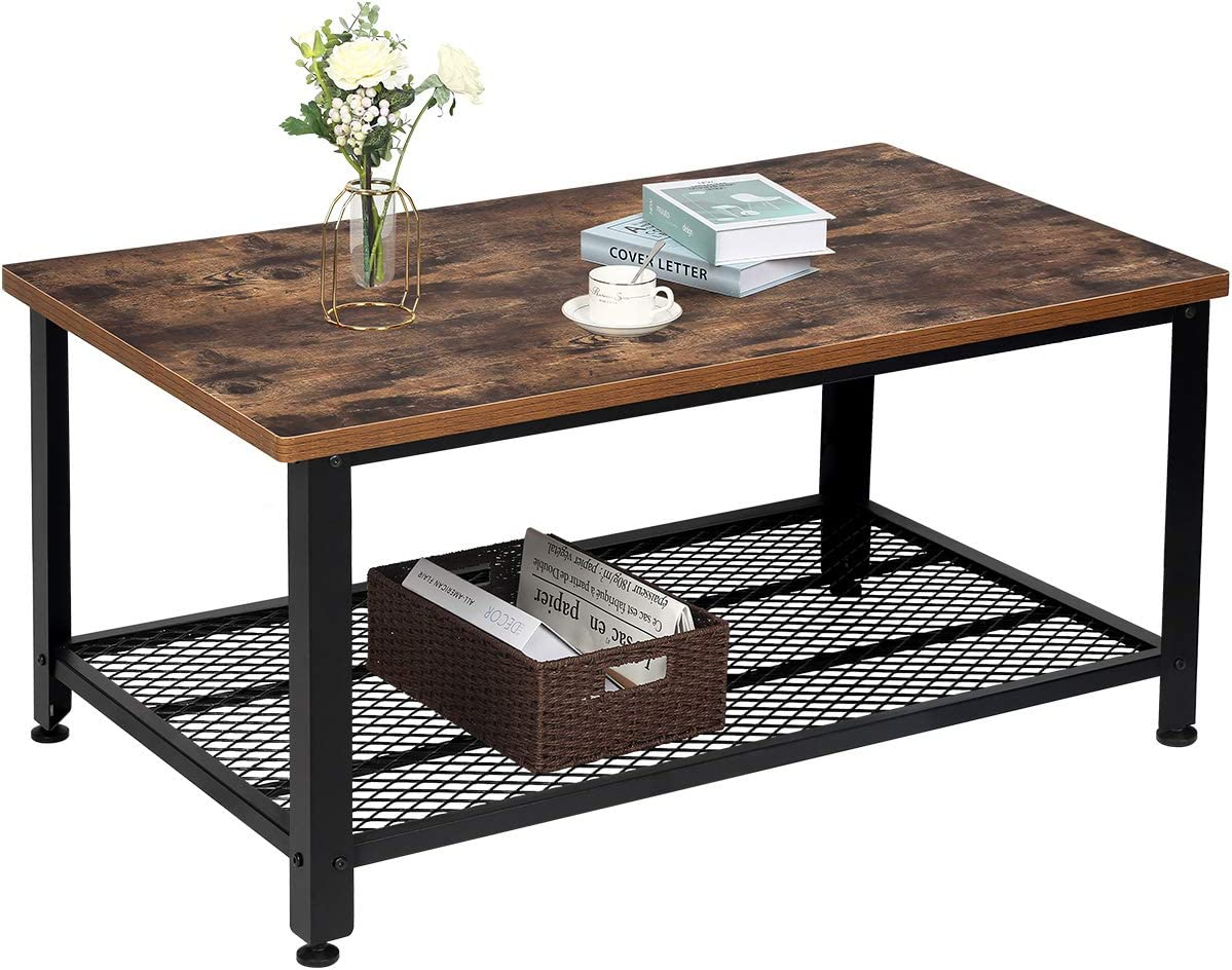 TomCare Coffee Table Rustic Cocktail Table Living Room Table with Storage Shelf MDF with Black Metal Frame Furniture Vintage Home Decor Large for Living Room Bedroom