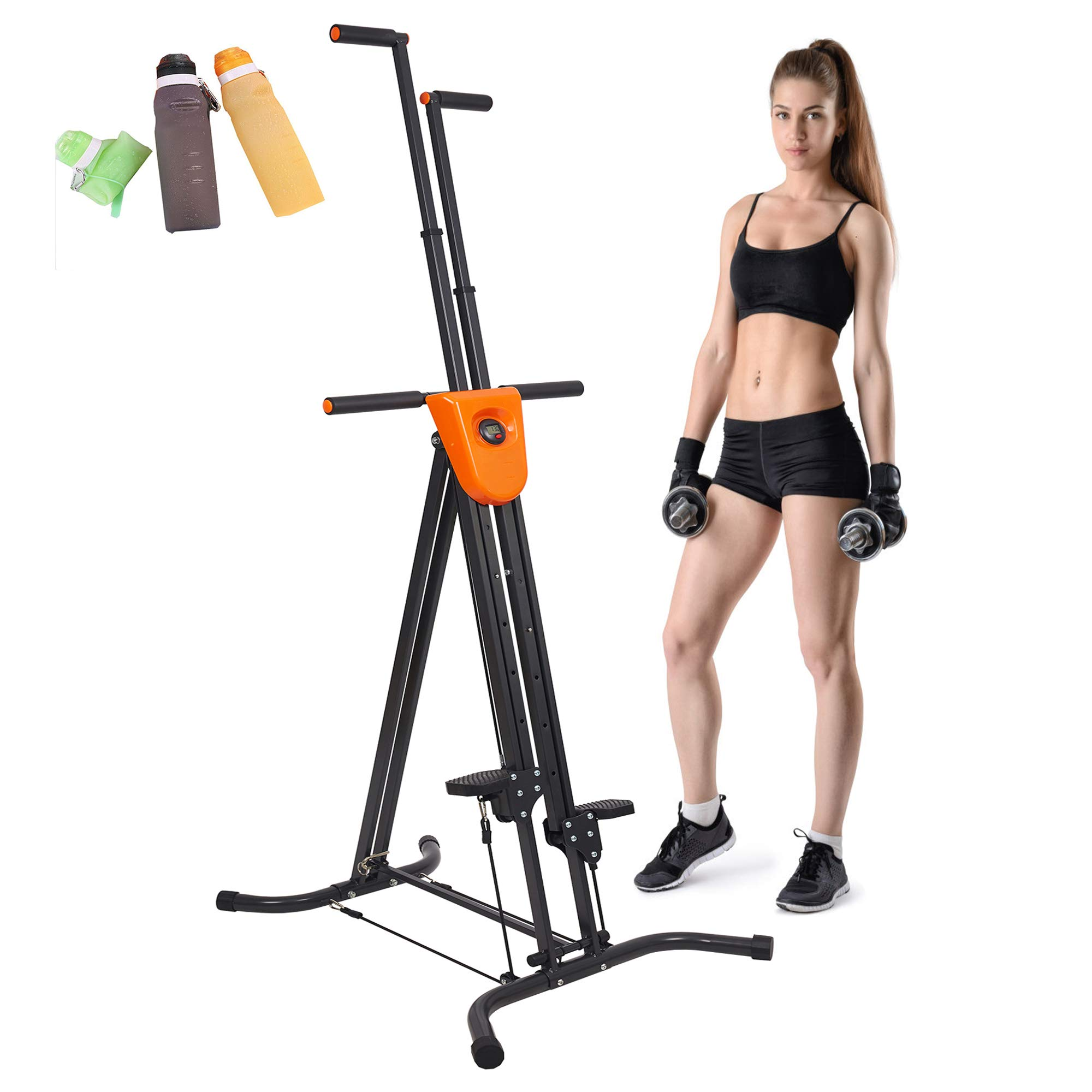 Lucky Tree Stair Climber Exercise Machine Vertical Climber Stairs Gym Home Fitness Folding Stair Stepper Adjustable Height for Women Man Full Total Body Workout