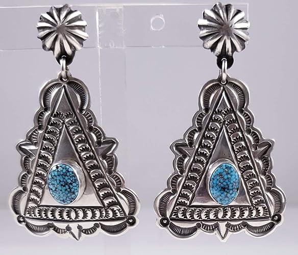 Sterling Silver Navajo Dangle Concho Earrings
