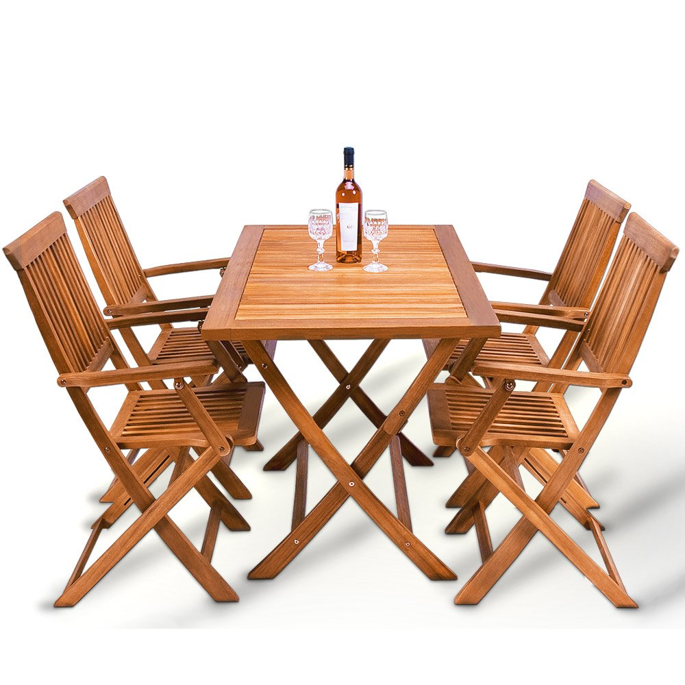 Wooden Garden Dining Table and Chairs Set✔ 100% Acacia Hardwood✔ 4 Seater✔ Folding Garden & Outdoor Furniture✔ Deuba