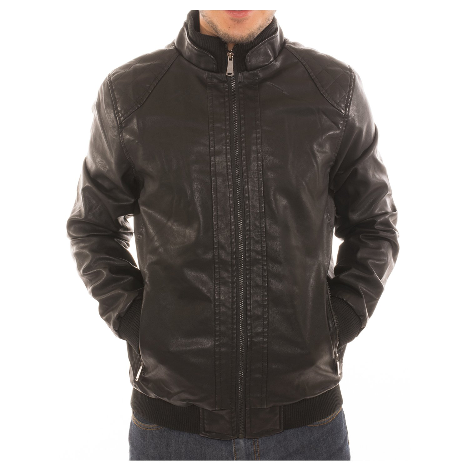 Men's Motorcycle Bomber Faux Leather Jacket Fleece Lined with Zippered Pockets - Black - S