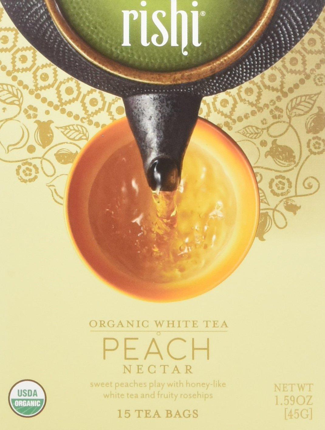 Rishi Peach Nectar Tea, Organic White Tea Sachet Bags, 15 Count