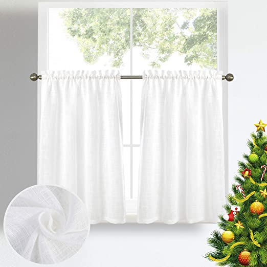 Zceconce Off White Linen Sheer Tiers Textured Elegant Rod Pocket Drapes for  Kitchen Bathroom Curtain Panels Total Size 72 Inch Wide (36\