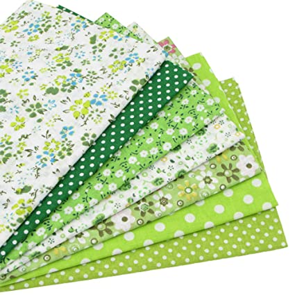 7piezas 49 cm * 49 cm verde 100% algodón Patchwork de costura de tela para