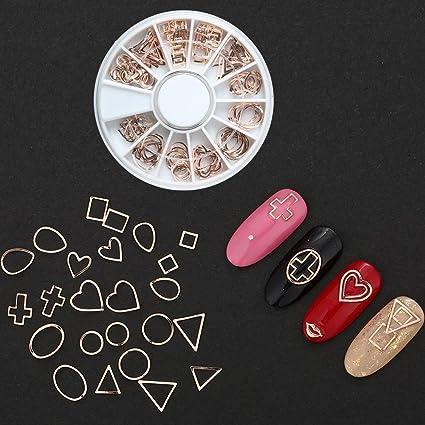 Teabelle - Remache de piedras de oro rosa para decoración de uñas, redondo, cuadrado