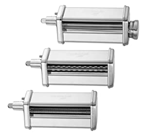 3-Piece Pasta Roller and Cutter Set fit KitchenAid Stand Mixers,Stainless Steel,mixer accessory by GVODE