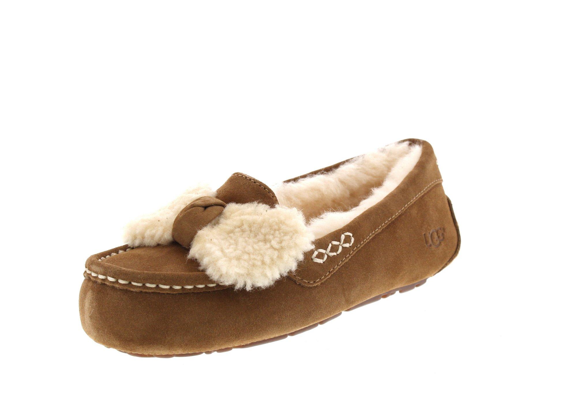 UGG Women's Ansley Fur Bow Slipper Chestnut Size 8 B(M) US