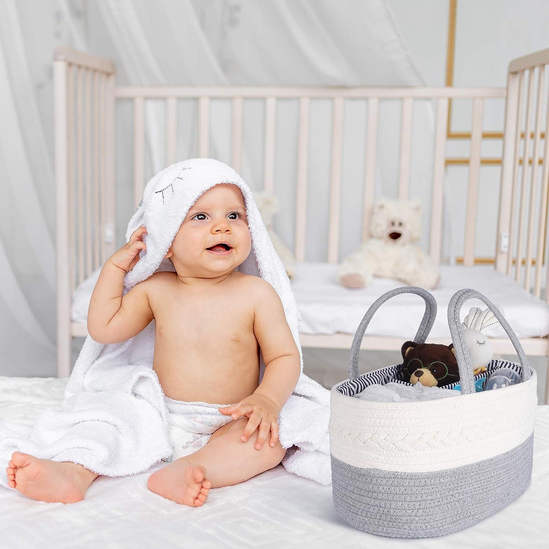 Newborn Registry Baby Shower Baby Diaper Caddy Organizer Gray Stylish Rope Nursery Storage Bin 100/% Cotton Canvas Portable Diaper Storage Basket for Changing Table /& Car