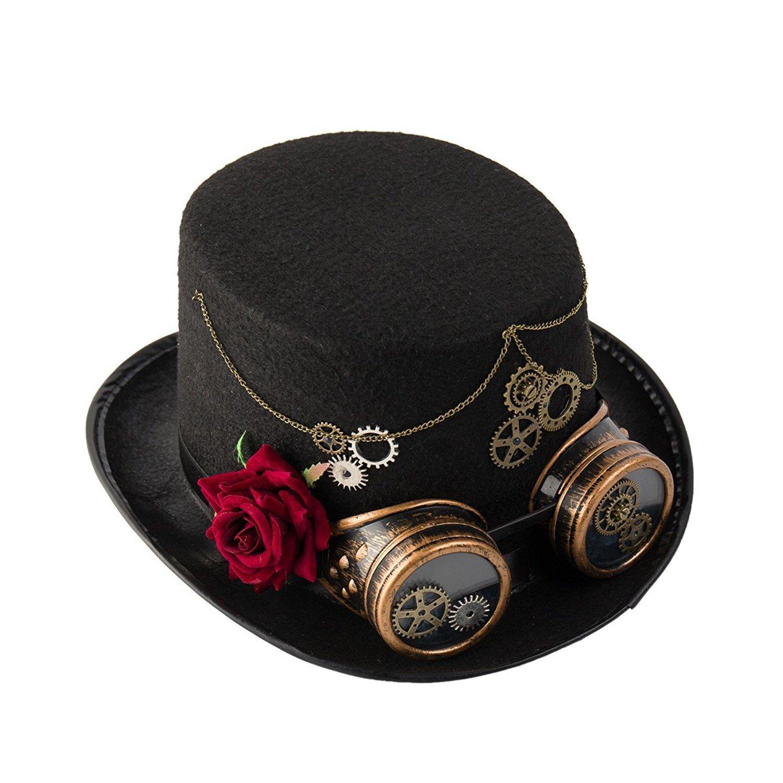 Herren Hut Steampunk Zylinder schwarz mit Feder Onesize schwarz  Kostüm-Zubehör