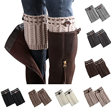 33ba438ed75 Image Unavailable. Image not available for. Color  7 Pack Women Short Leg  Warmers Crochet Knit Button Boot Socks Topper Cuffs ...