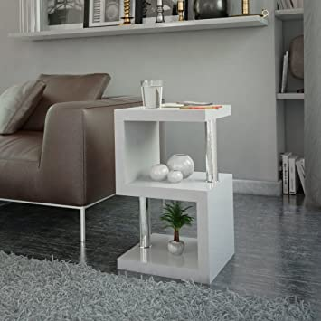 Cosmo Modern High Gloss Side Table. Available In Black Or White. S Shape  Design (White): Amazon.co.uk: Kitchen U0026 Home