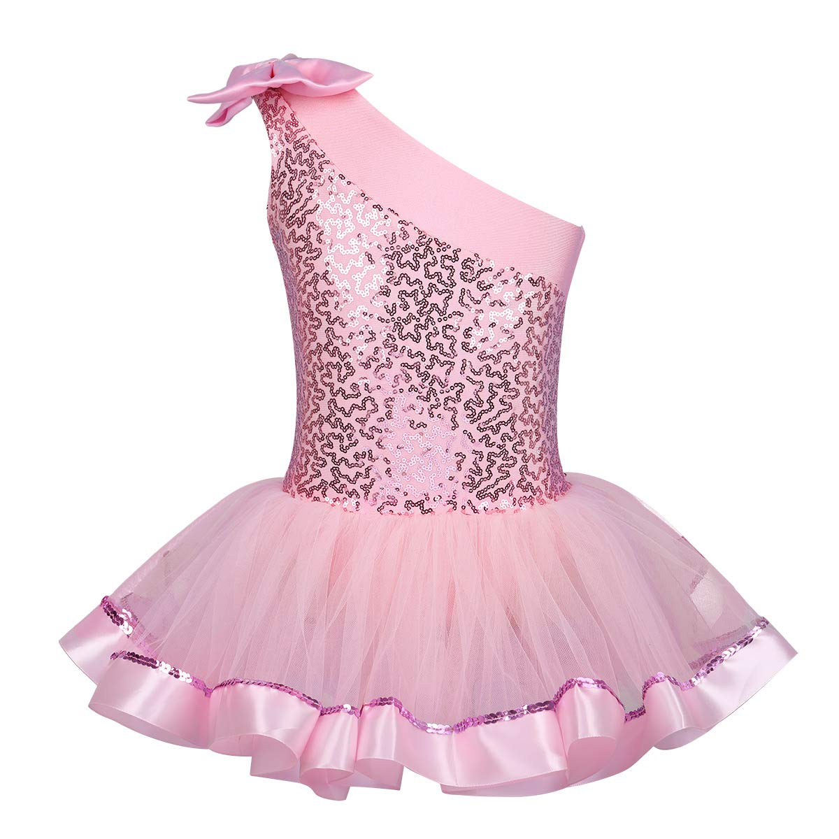 IEFIEL Disfraces Bailarina Ni/ña Maillot Ballet Lentejuelas Maillot Gimnasia Artistica Un Hombro Descubierto Bowknot Vestido de Patinaje Art/ístico Ni/ña