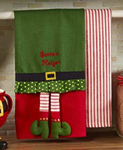 The Lakeside Collection Set of 2 Novelty Kitchen Towels - Elf