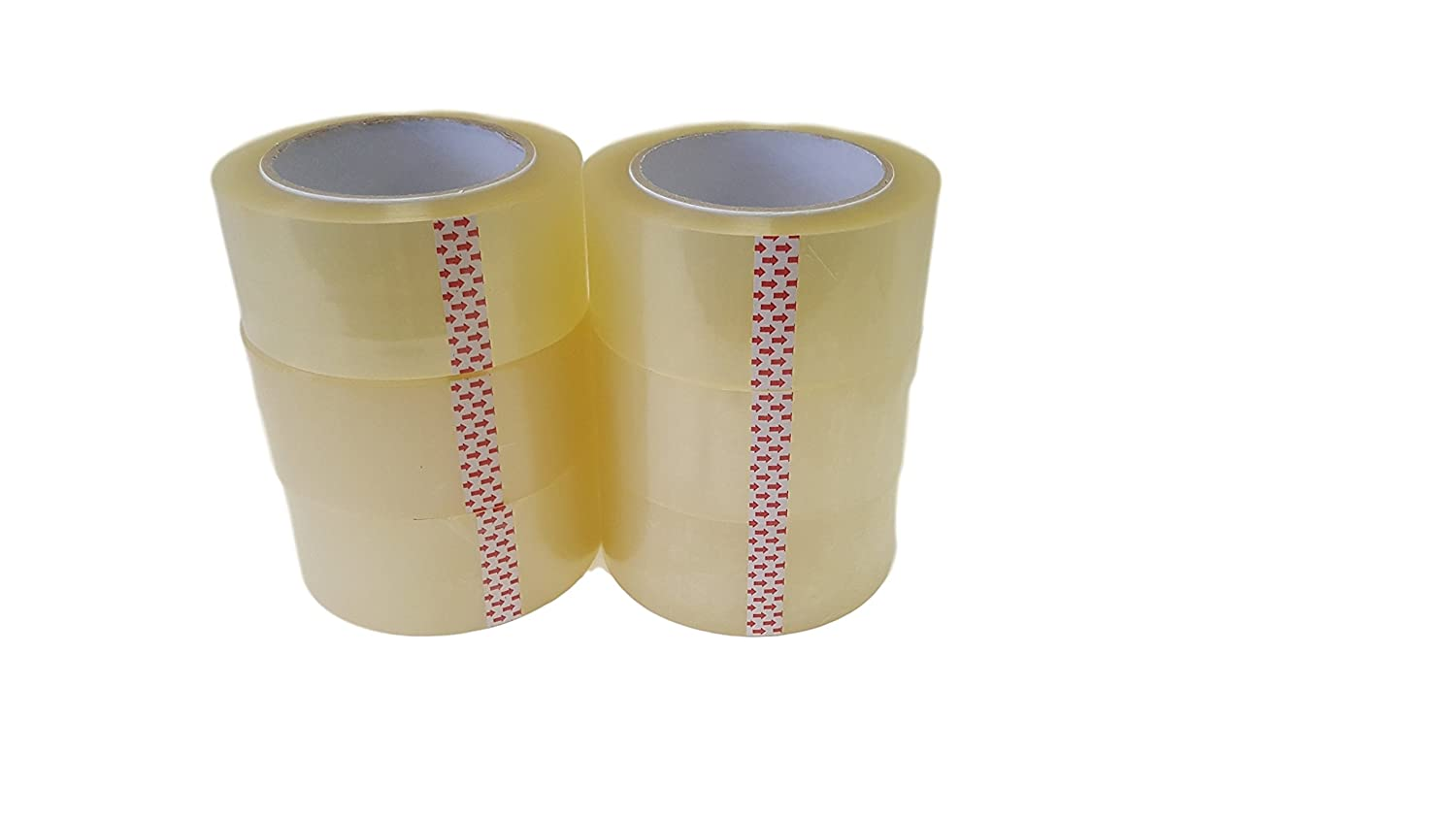 Oknuu 6-Rolls Clear Packaging Packing Tape 2x110 Yards 48mm x 100m - BOPP Water Based Acrylic Glue - Super Strong Carton Sealing Tape - Extra Heavy Duty - 2.56 MIL Thickness