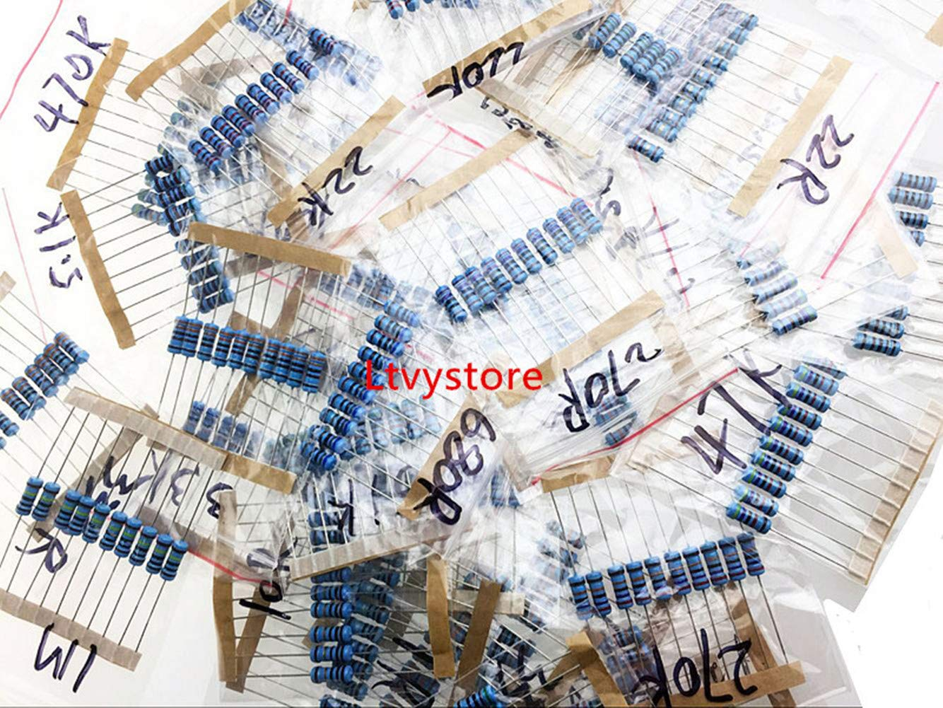 Ltvystore Resistor Box Assortment Metal Film 35 Values 1/% Resistance Resistors Set Arduino Package of 350 1 Ohm 2.2M Ohm Resistor Pack Assorted 1 Watt 1W Resistors Kit