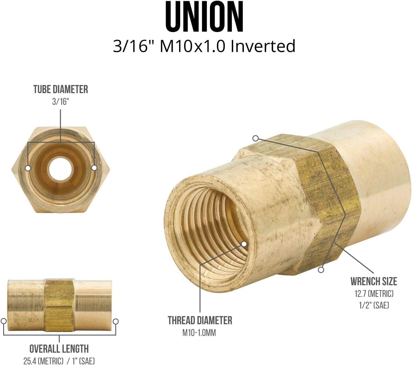 Brass Brake Line Union M10x1.0 Inverted 4LIFETIMELINES 3//16 Coupler Pack of 50