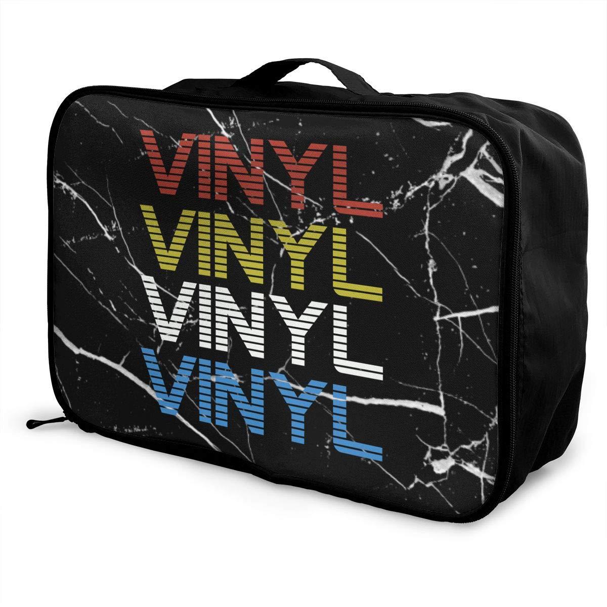 Retro Distressed Vinyl Record Luggage Bag Capacity Portable Large Travel Duffel Bag Makeup Storage