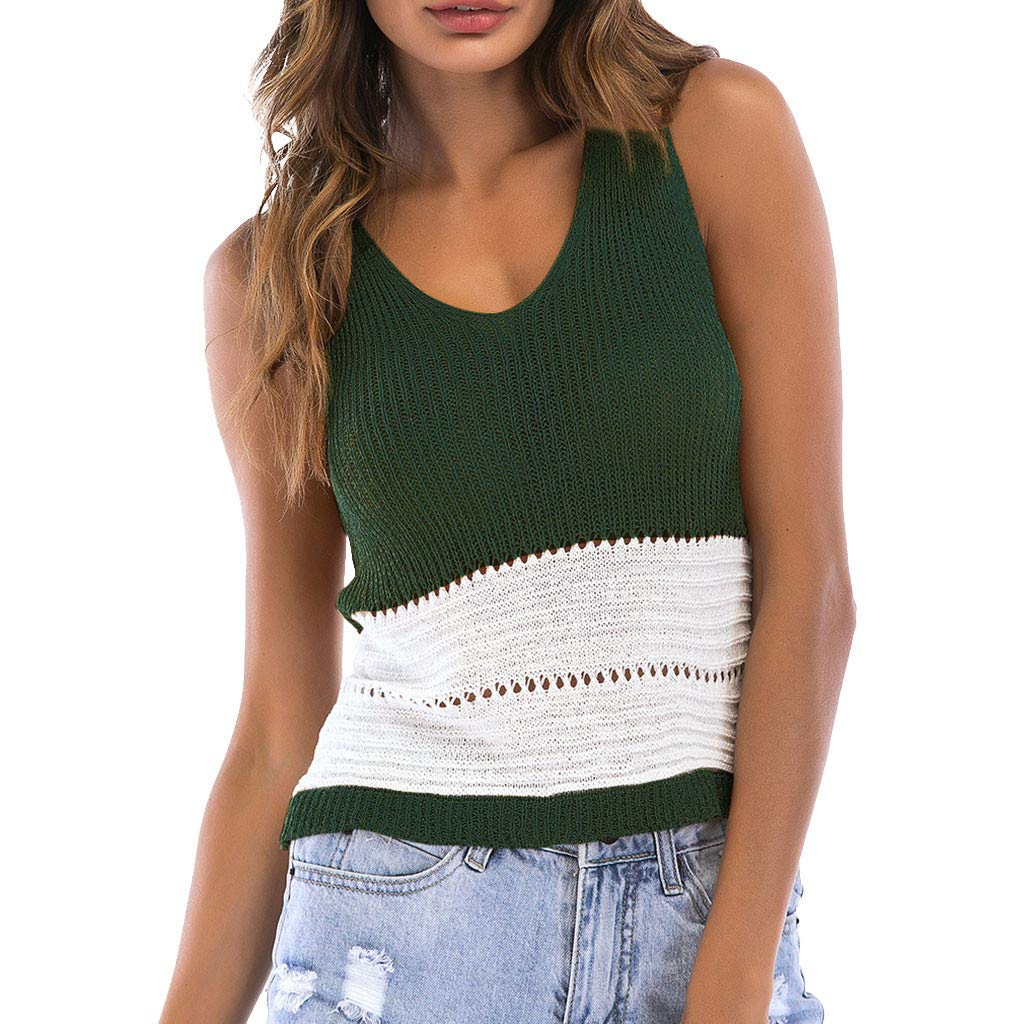 2019 Hot!!! Sexy Women's Sleeveless Sling Hollow V-Neck Colorblock Knit Tank Tops Crop Top Shirt Blouses Vest Green