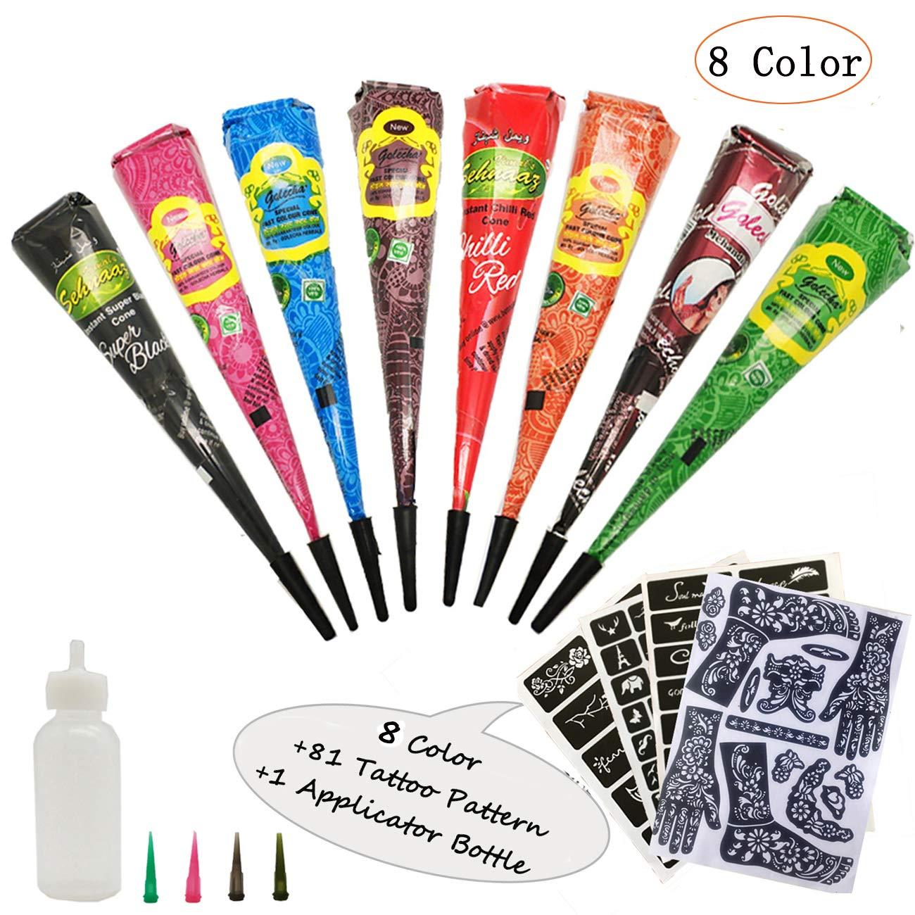 Henna Tattoos Kits- 8 Color Temporary Tattoo India Henna Kit Tattoo Paste Cone Body Art Painting Drawing with 81 pcs Tattoo Templates, 1 x Applicator Bottle and 4 x Plastic Nozzle