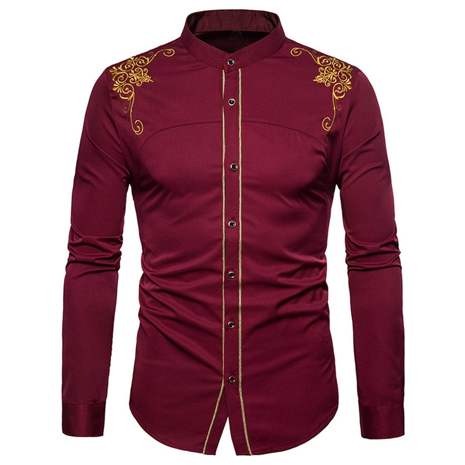 Mens Shirts fit Vintage Embroidery Down Fashion Hipster fit Long Sleeve Button Tops Winter Cotton Lightweiht Shirt