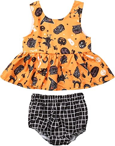 Baby Girl Summer Clothes Cute Halloween Owl Short Sleeve One-Piece Suit Romper Home Outfit