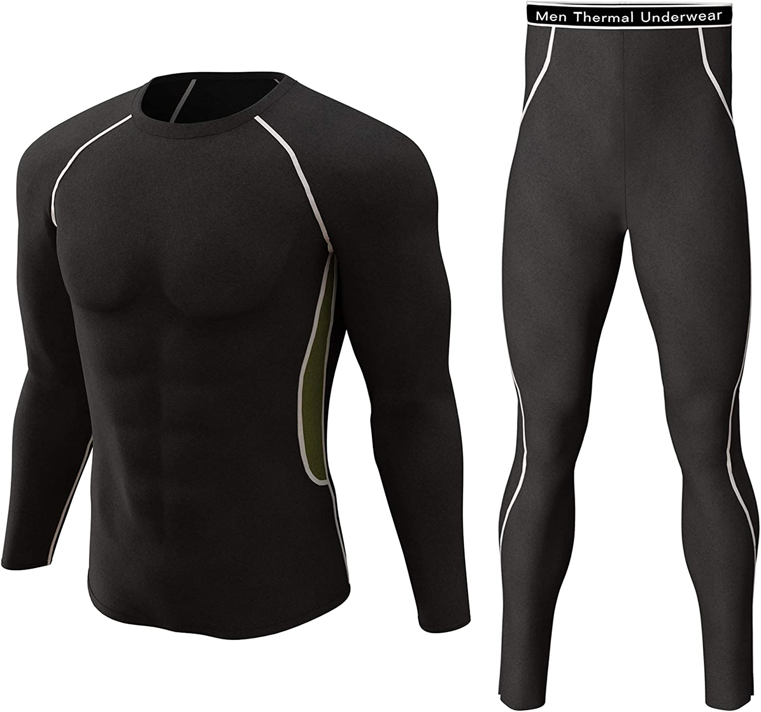Thermal Underwear Set Winter Hunting Gear Sport Long Johns Base Layer Bottom Top at  Men's Clothing store