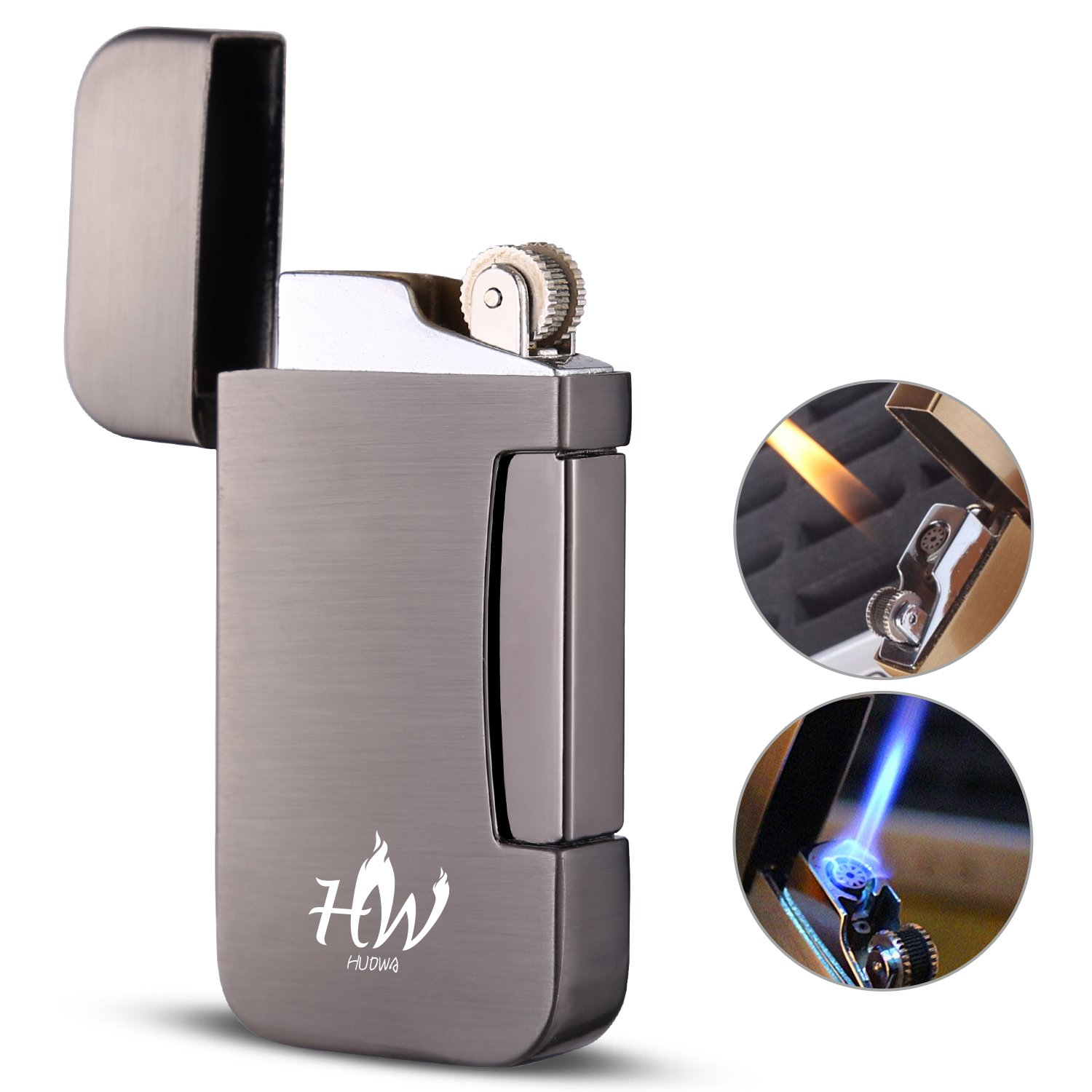 HUOWA Jet Torch Cigar Lighter, Unique Soft/Jet Flame Switchable and Butane Gas Fuel Refillable Windproof Cigarette Lighter for Tobacco Pipe & Cigar