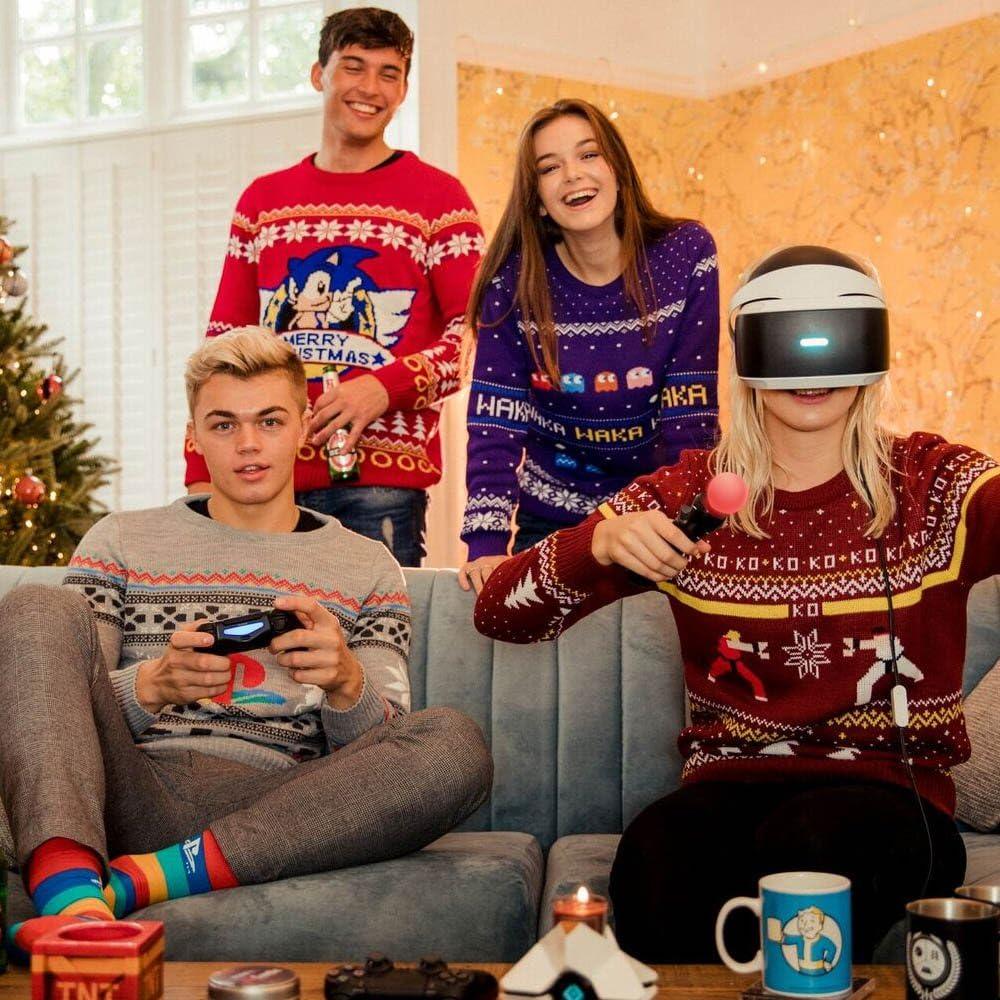 H/ässliches Neuheiten-Pullover-Geschenk numskull Offizielle Unisex Pac-Man gestrickter Weihnachtspullover f/ür M/änner oder Frauen
