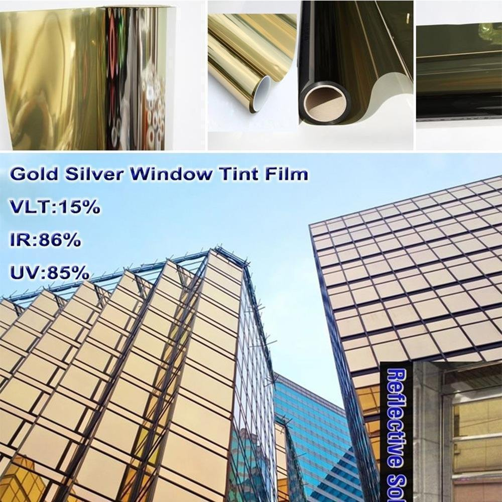 HOHOFILM 60 x16ft Roll One Way Mirror Window Film Daytime Privacy Self-Adhesive Decoration Heat Control Glass Tint for Home and Office,Gold Silver
