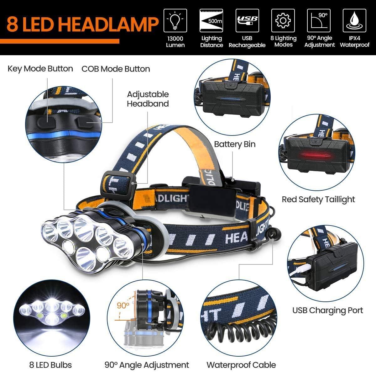 13000 l/úmenes leer superbrillantes /ángulo de 90 grados ajustable LED 8 modos de faro impermeable perfecto para correr 7 faros LED linterna recargable caminar acampar
