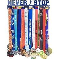 Medallero colgador de medallas para 60 medallas, todos los deportes deportivos de color rojo transmite la actitud de aliento, incluye 1 pulsera con cierre, imposible, 2019, nunca para, colgador de medalla.