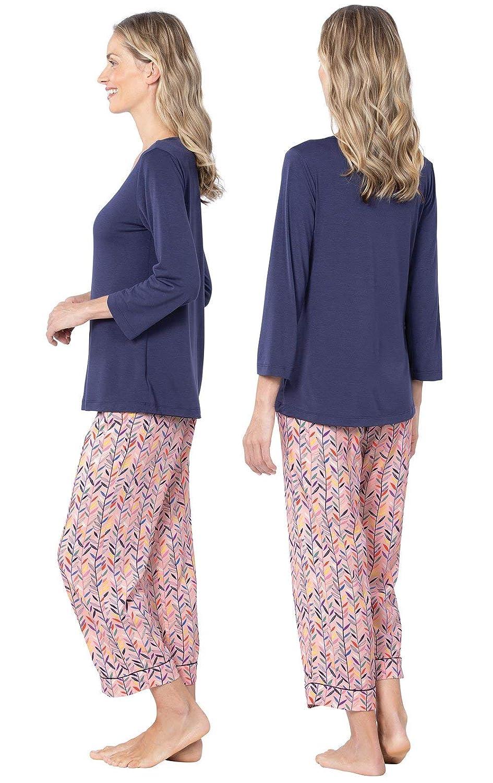 PajamaGram Womens PJs Silky Rayon Soft Pajamas Set for Women Pink