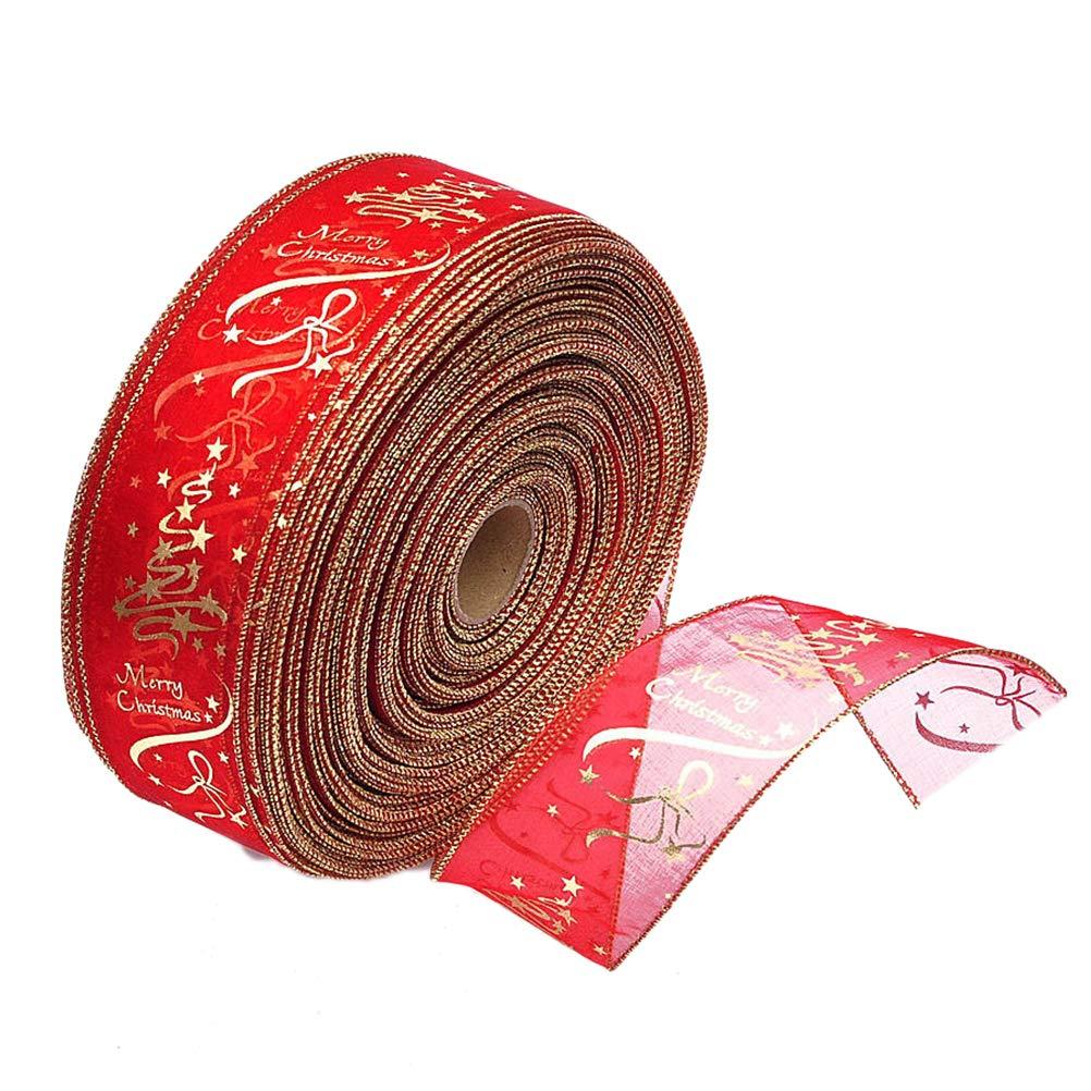 BESTOYARD Cinta de /árbol de Navidad Navidad Cinta de Seda decoraci/ón Cintas de Regalo 200/x 6.3/cm