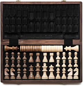 "A&A 15"" Folding Wooden Chess & Checkers Set w/ 3"" King Height Chess Pieces / 2 Extra Queen/German Knight Staunton Wooden Chessmen/Walnut Box w/Walnut & Maple Inlay …"