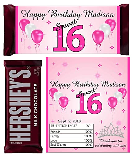 Candy land Sweet 16 Favors ~ Personalized Candy Bar Wrappers fit the 1.55 oz Hershey/'s Bar ~ DIGITAL OR PRINTED
