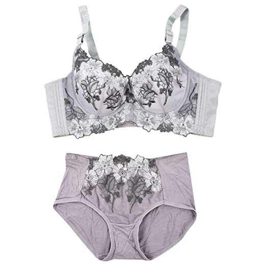 918ad0c72d2 Image Unavailable. Image not available for. Color  SODIAL(R) Deep V Sexy  Big Size Push Up Bra Set Floral Embroidery Lace