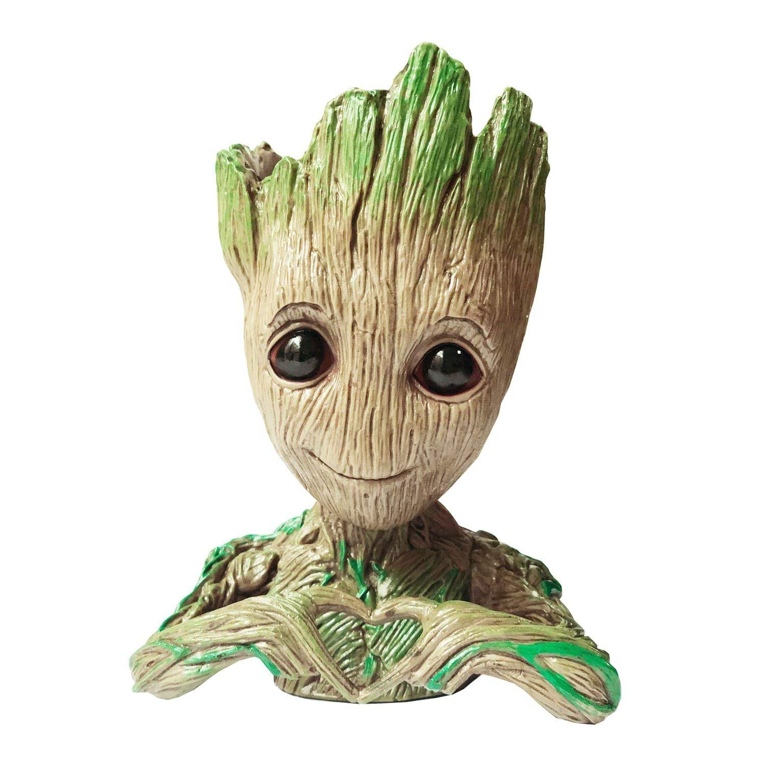 Baifeng Flowerpot Treeman Heart-Shaped Groot Succulent Planter Cute Green Plants Flower Pot with Hole Pen Holder