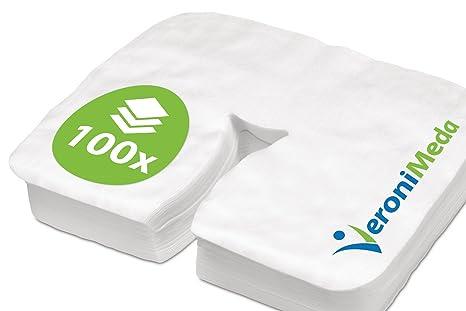 VERONIMEDA - Cubierta de apoyacabezas desechable para masaje - Premium Active (100 piezas) / Cubierta de apoyo facial para mesa de masaje (tamaño: ...